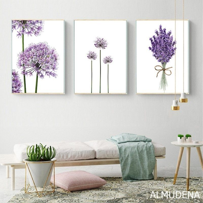 Scandinavian Lavender Flowers Poster Modern Canvas Painting Green Posters And Prints Home Decoration Bedroom Wall Art Pictures Lavender Bedroom Decor Wall Art Living Room Modern Canvas Painting