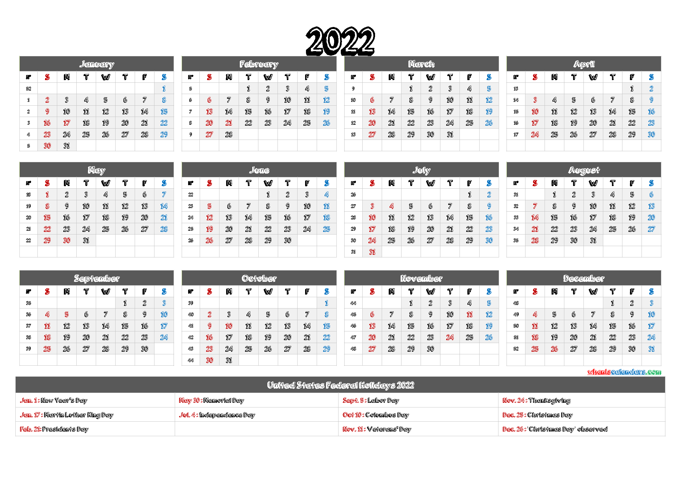2022 Calendar Printable pdf DOWNLOAD PRINTABLE CALENDAR ...