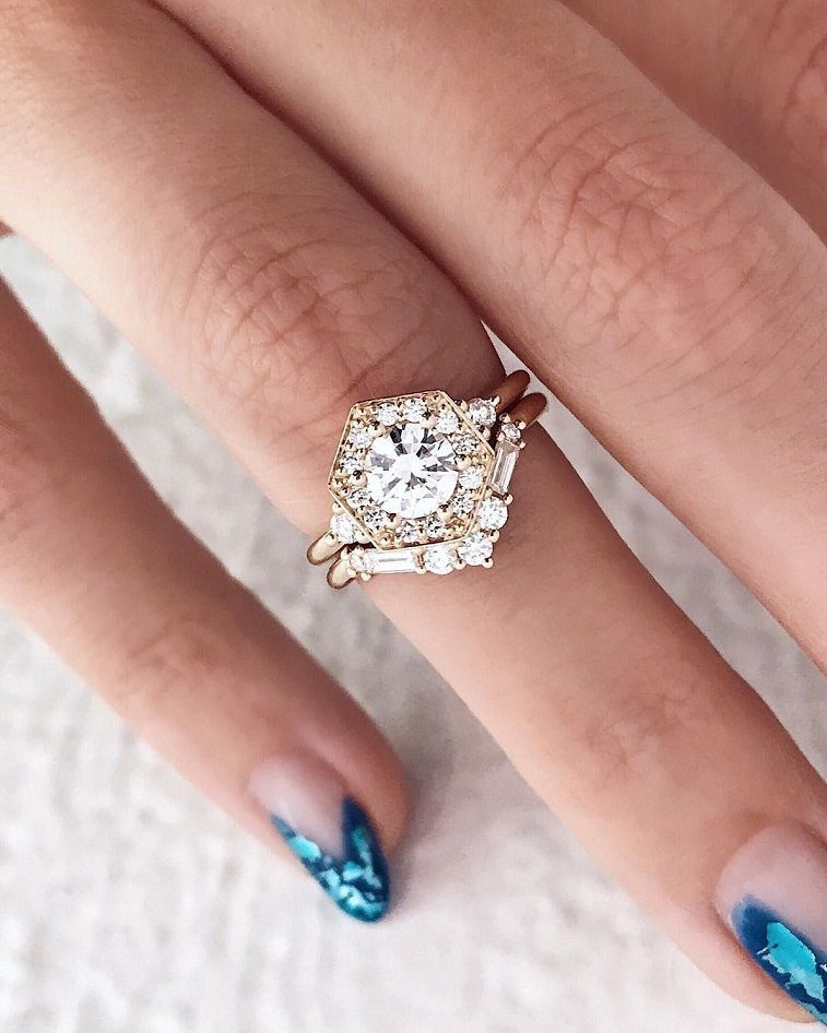 100 The Most Beautiful Engagement Rings You Ll Want To Own With Images Hexagon Engagement Ring Stunning Engagement Ring Gold Diamond Wedding Band