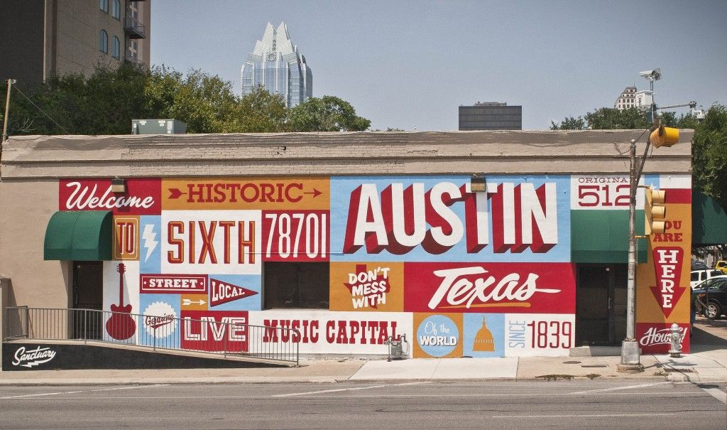 Mural on sixth street by sanctuary printshop austin for Austin mural location