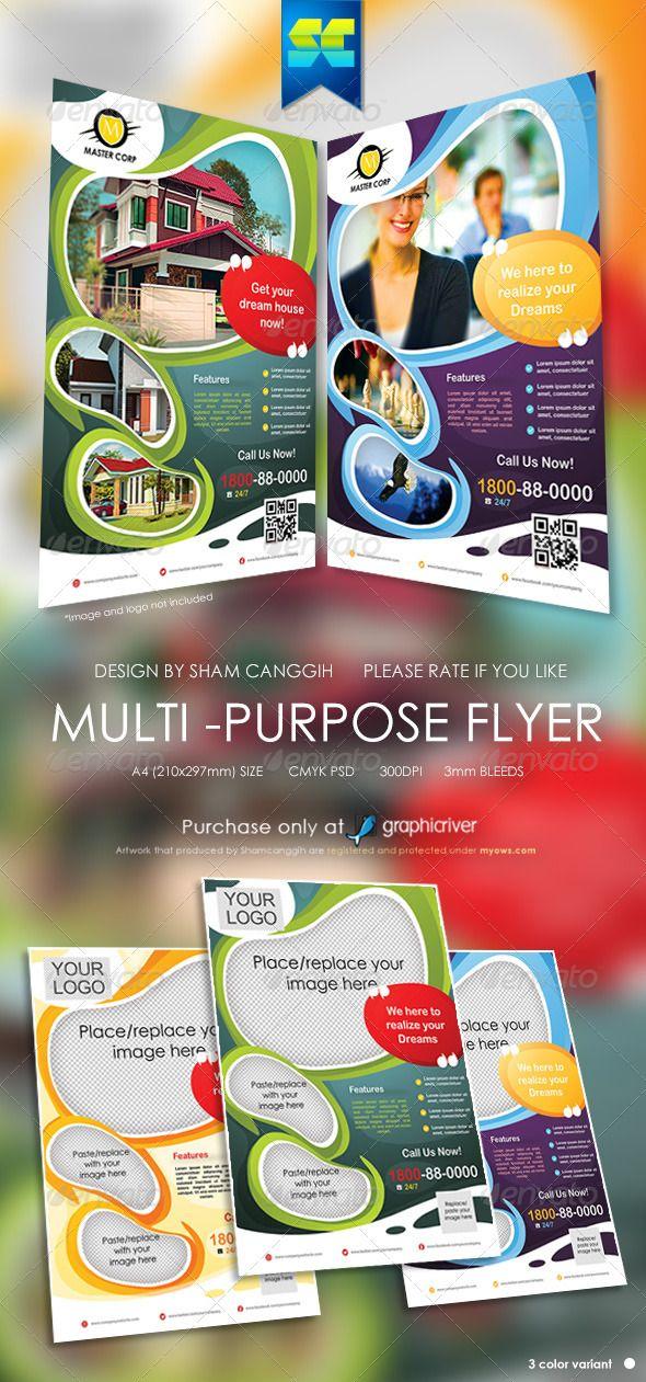 Modern MultiPurpose Corporate Flyer — Photoshop PSD #advert #yellow ...
