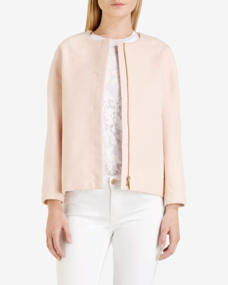 Cropped cocoon jacket - Pale Pink | Jackets & Coats | Ted Baker UK ...