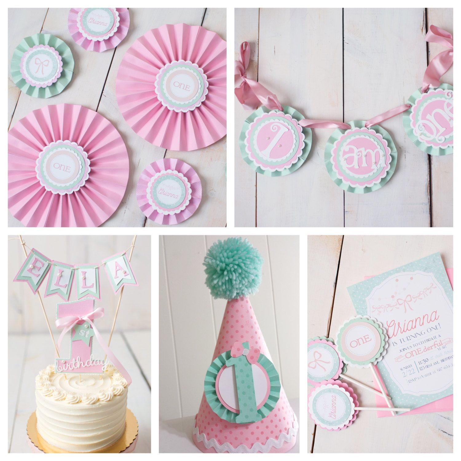 Girl 1st Birthday Party Decorations Boutique 6 piece decor box