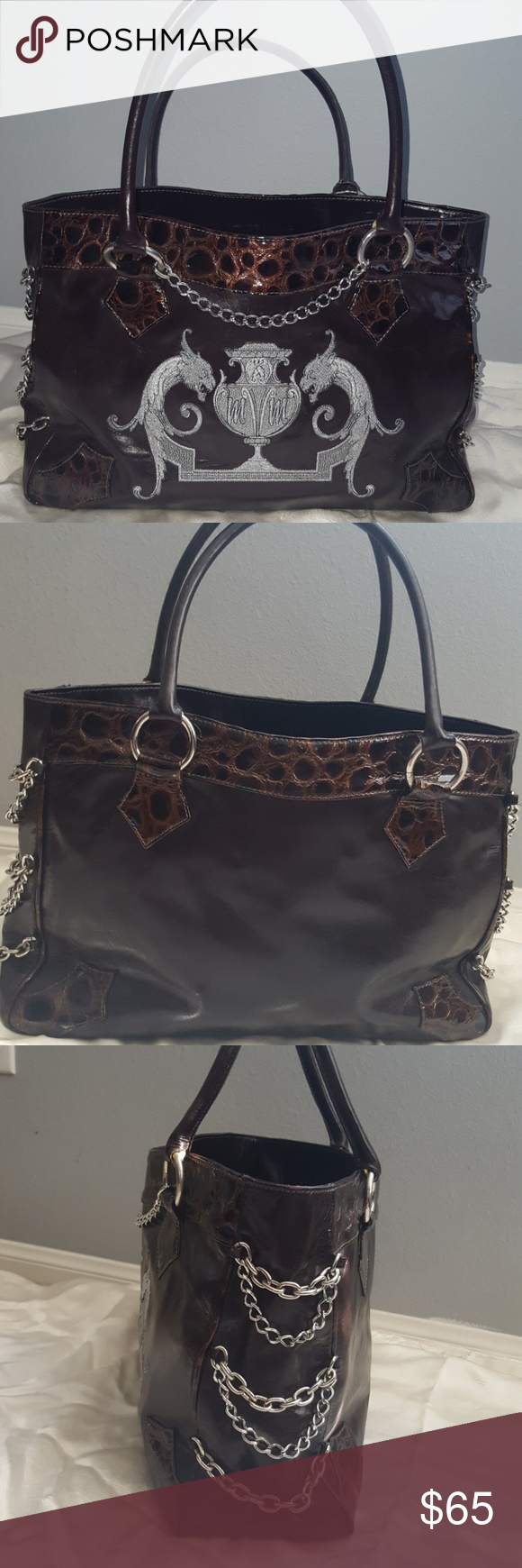 Michelle Monroe Croco Leather Chain Handbag Purse Brown Large In Great Used Condition