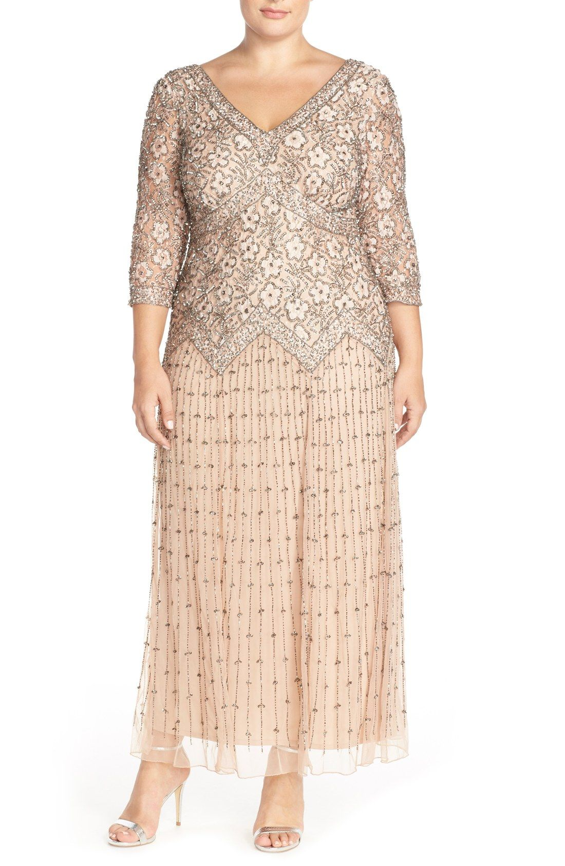 fe63450d22b Pisarro Nights Beaded V-Neck Lace Illusion Gown (Plus Size ...
