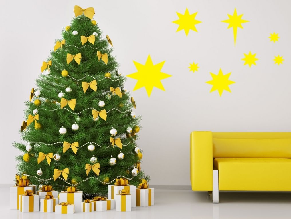 Christmas Wall Decoration Pinterest : ? yellow stars wall sticker fun christmas decoration