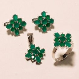 STAMP 925 SOLID STERLING  SILVER  CREATED FACETED EMERALD RING SZ 8.5 SET