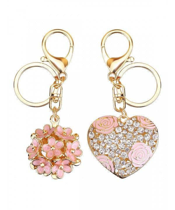 Flowers Ball Keychain and Sweet Love Heart Rose Flower Crystal Keyring- 2  Pieces - CI17YW82RNR c8fde6d75c