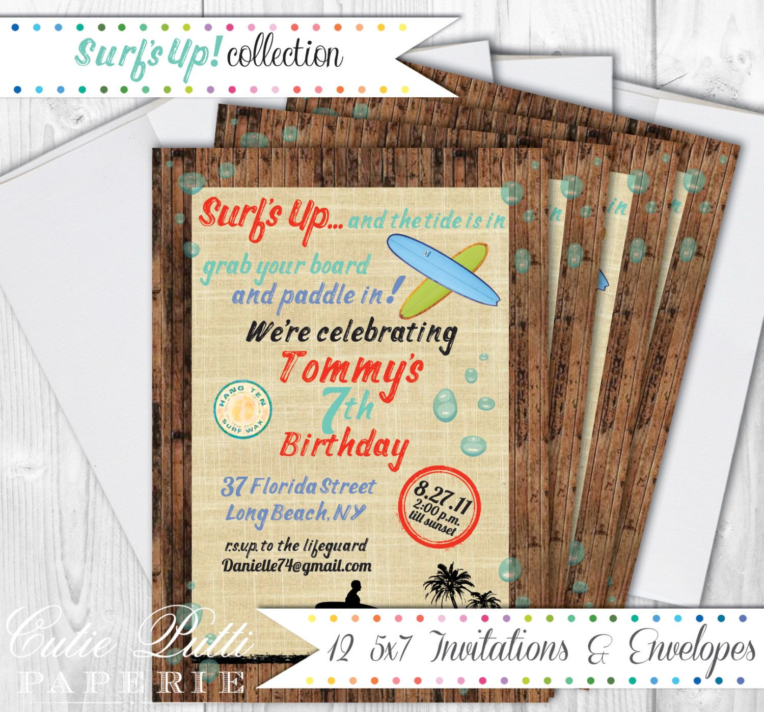 Surf Party Invitations, Envelopes, 5x7 Custom Invitations by Cutie ...