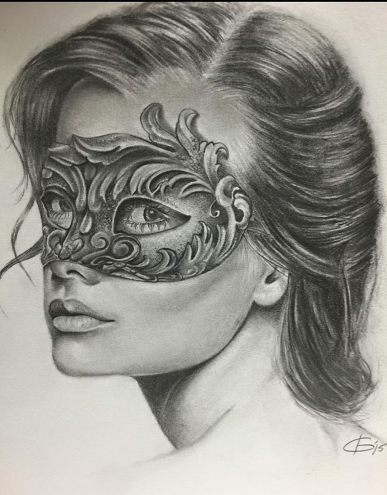 Masquerade Masked Woman Drawing Artist David Gordon