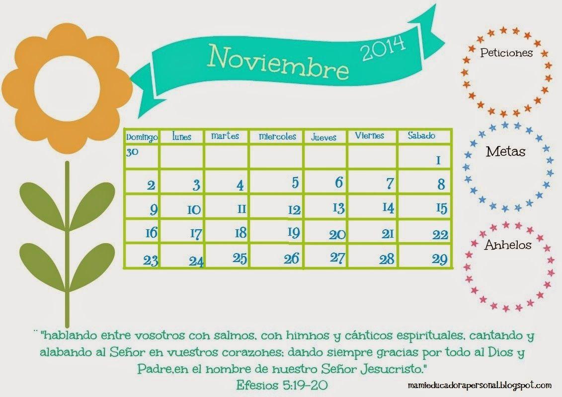 Calendario Noviembre 2014. Imprimible Gratis.