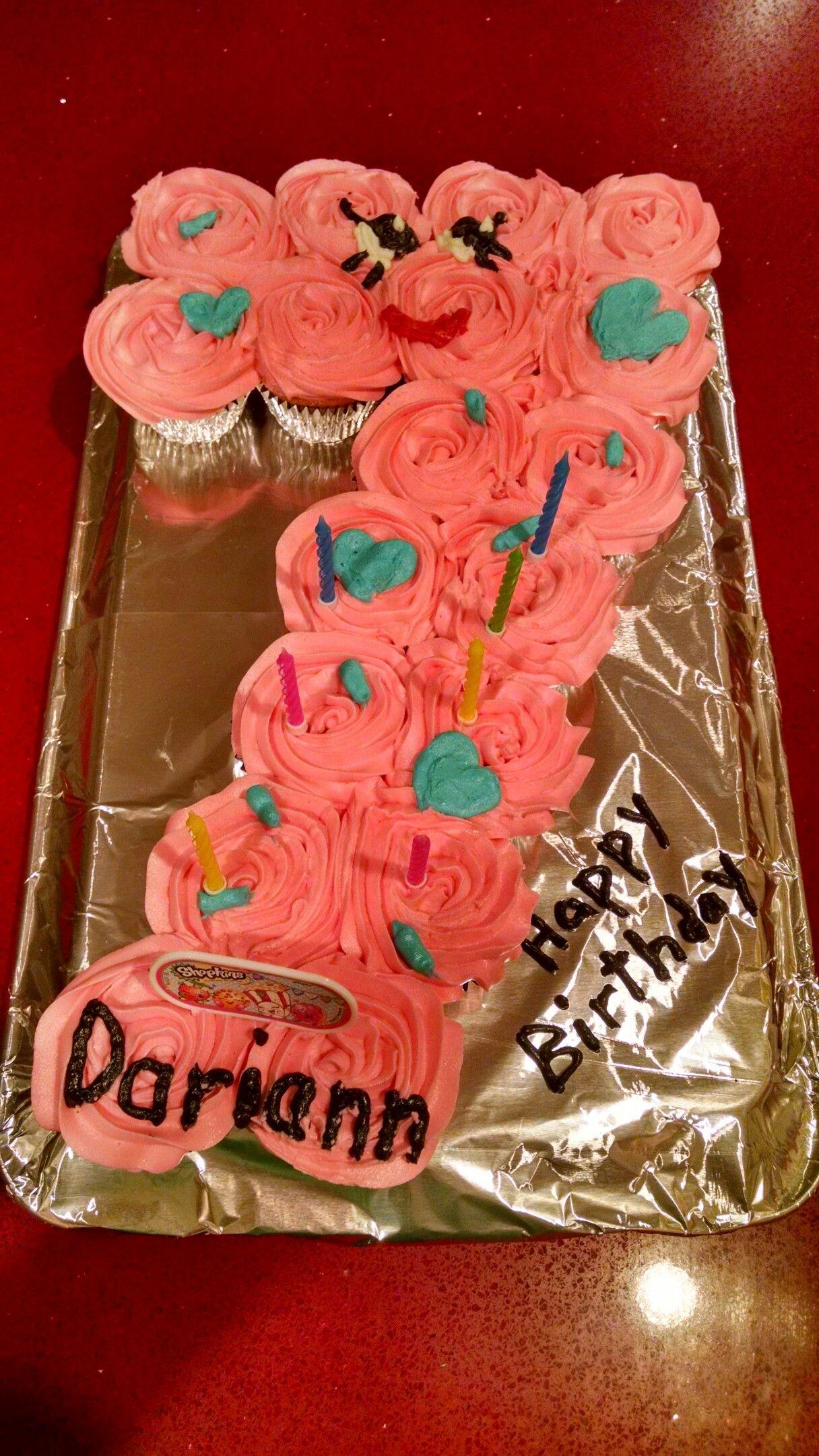 Superb Number 7 Shopkins Cupcake Cake Cupcake Birthday Cake Birthday Funny Birthday Cards Online Inifodamsfinfo