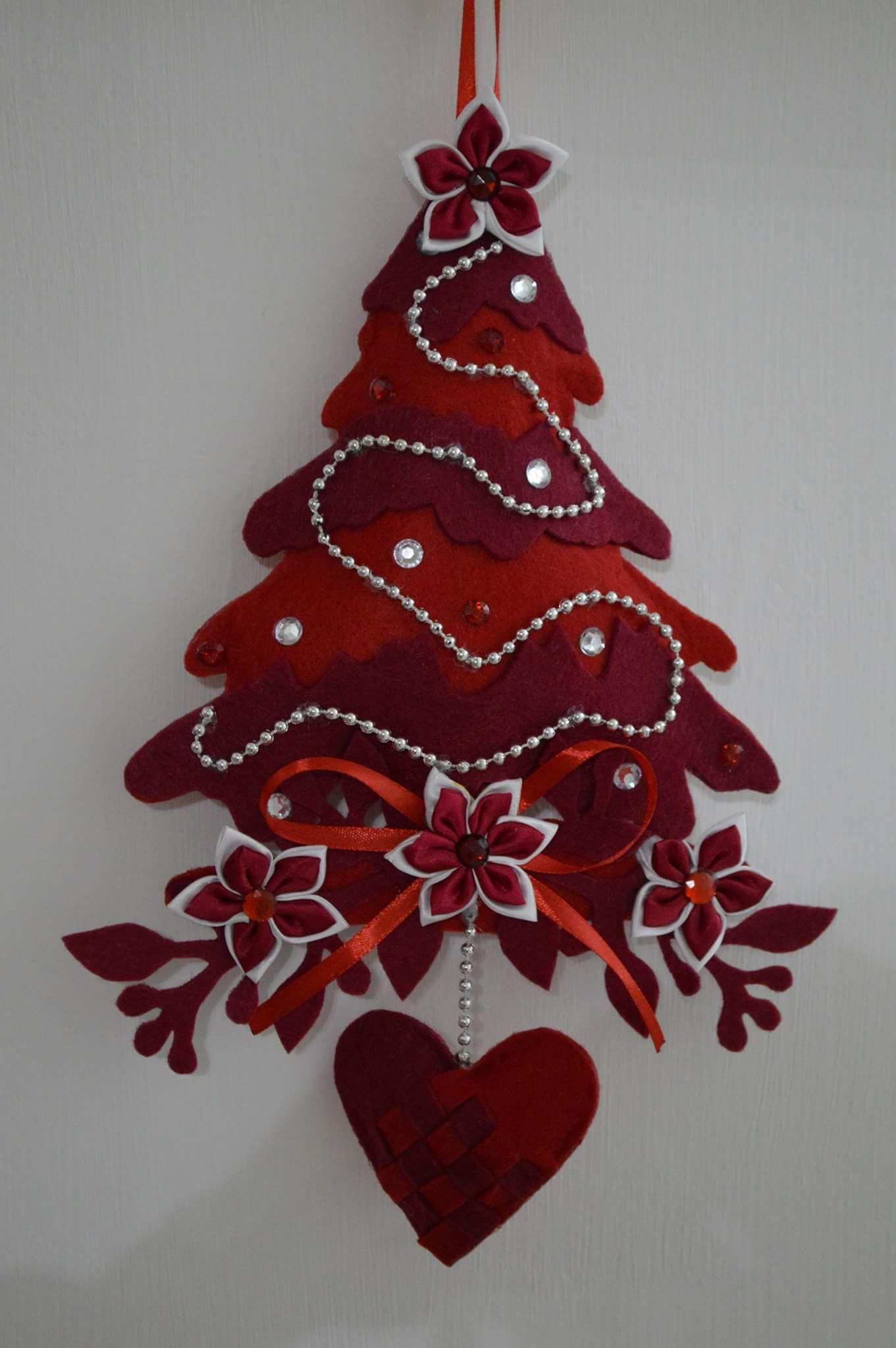 Decorazioni Natalizie In Feltro Pinterest.Alberello Natale Feltro Novogodnyaya Natale Ornamento Di Natale E