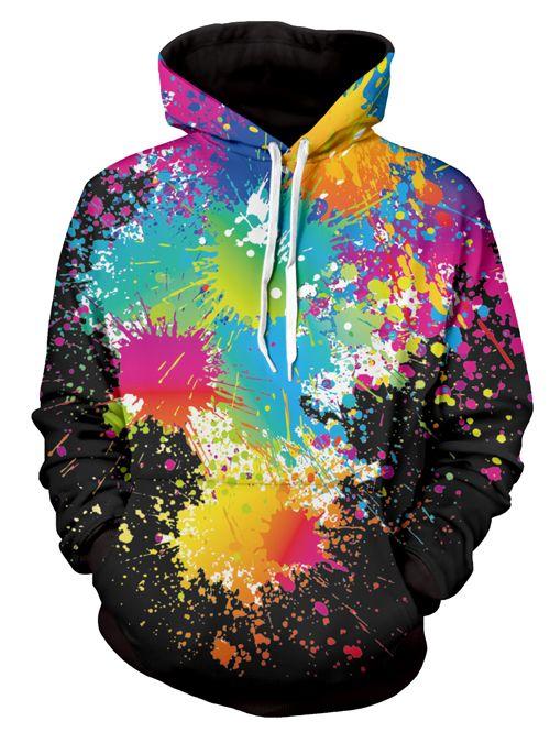 Long Sleeve Paint Splatter Print Pullover Hoodie Mens