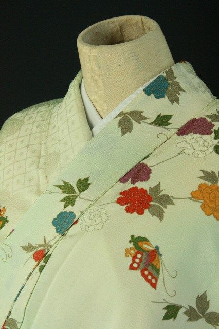 Right blue gradation komon, flower and leaves pattern / 水色グラデ地 渋色多色の花蝶文様 小紋 #Kimono #Japan http://www.rakuten.co.jp/aiyama/