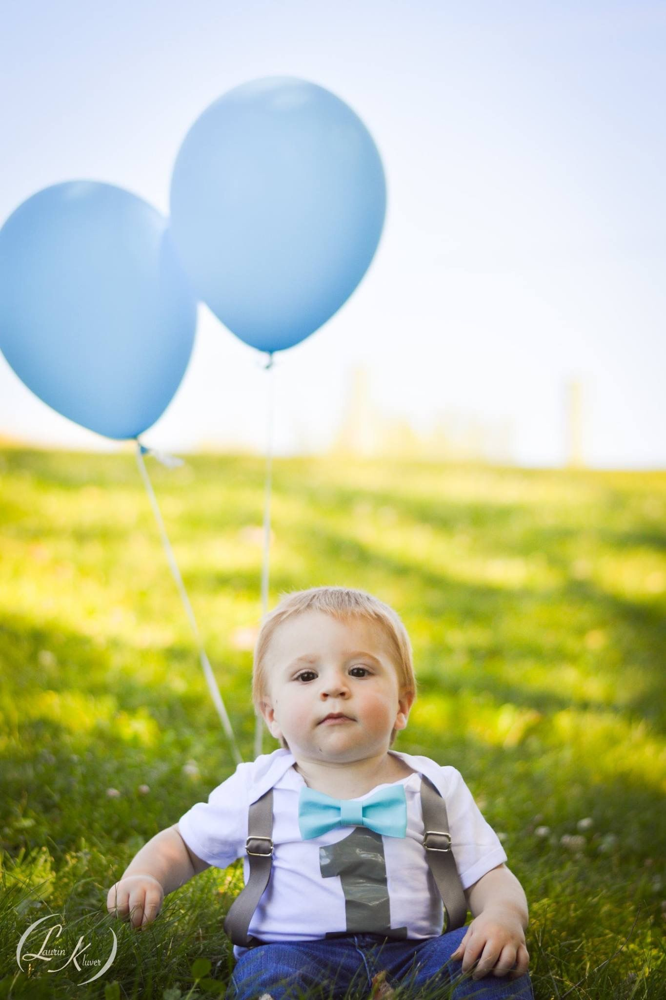 one year old boy bowtie balloon photography