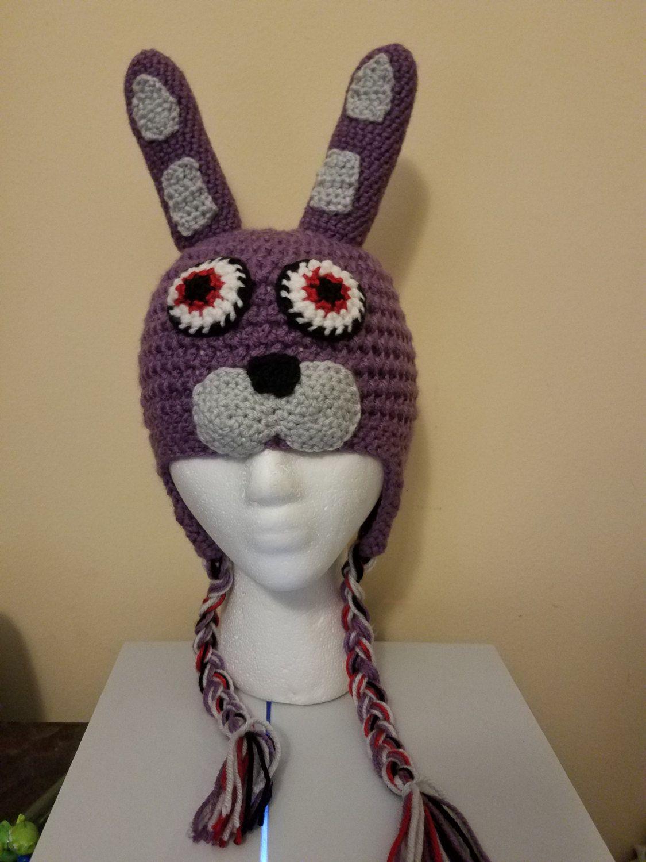 0f8e61ea60f14 FNAF Bonnie hat- Crochet by FirefliesNPixiedust on Etsy Gorros De Lana