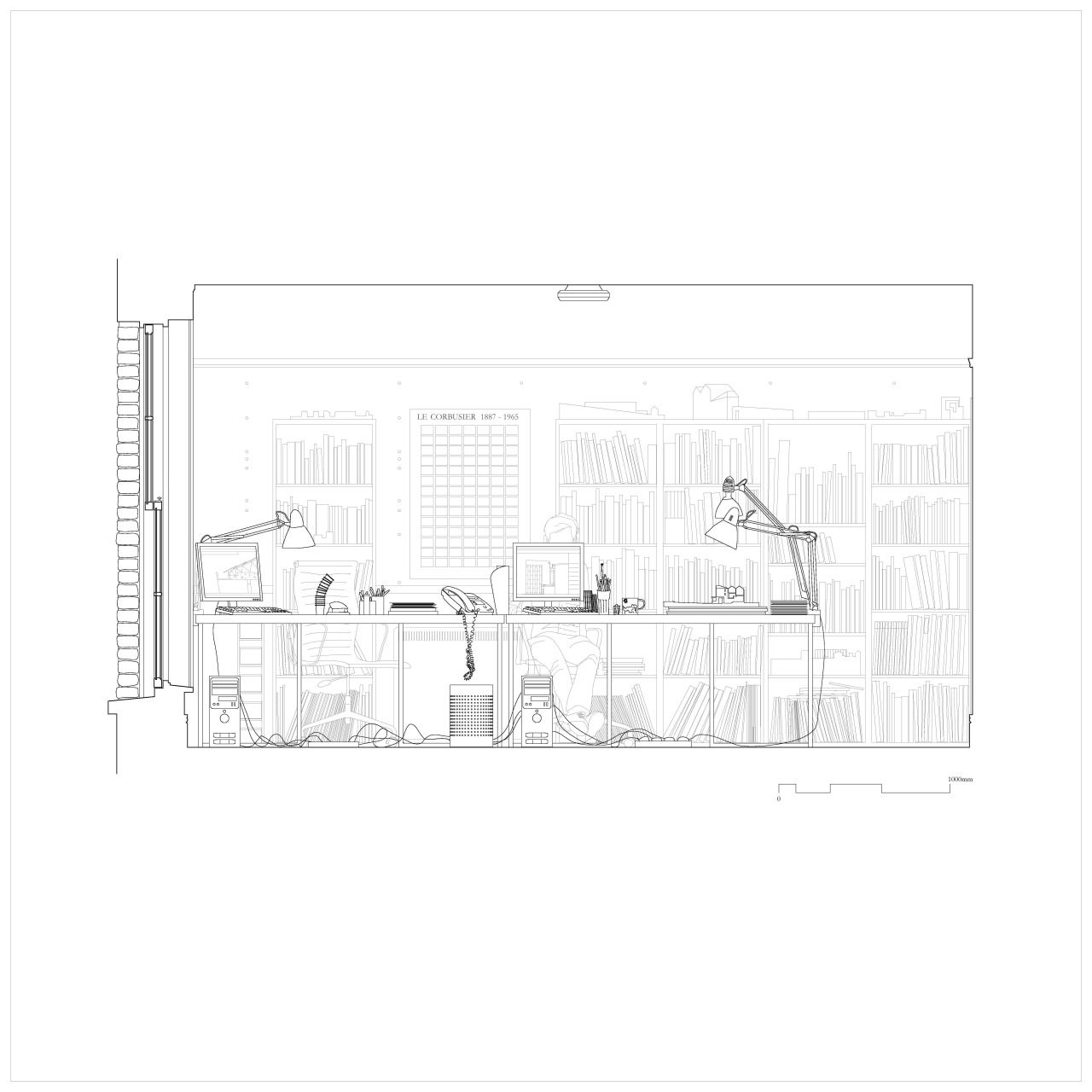 plattenbaustudio: 19A Baggot Street Elevation drawing of GKMP Architects office, Baggot Street, Dublin. Image Copyright © 2014   Jennifer O'Donnell, Jonathan Janssens