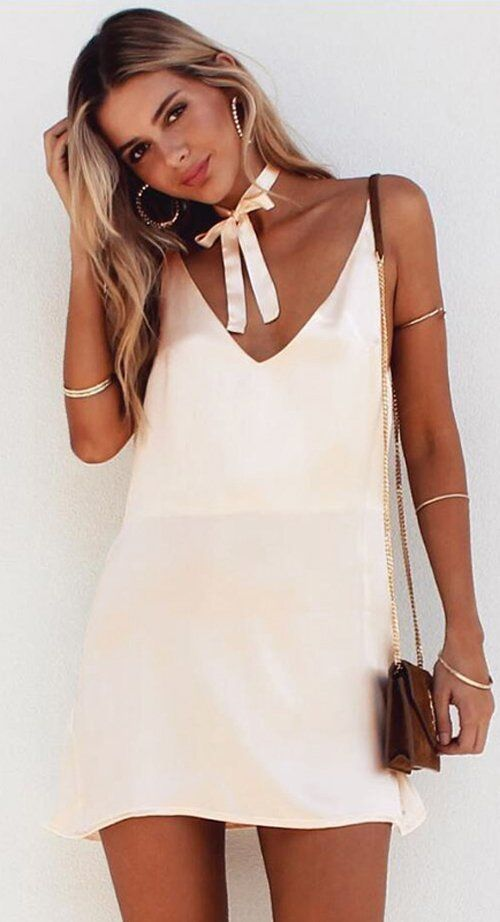 Elegant mini-bag + silk dress