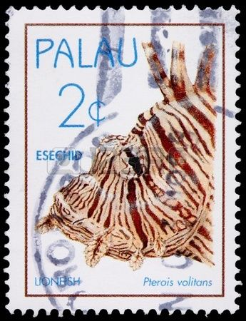 The lionfish, Pterois volitans,  2-cent stamp printed in the Republic of Palau circa 1995