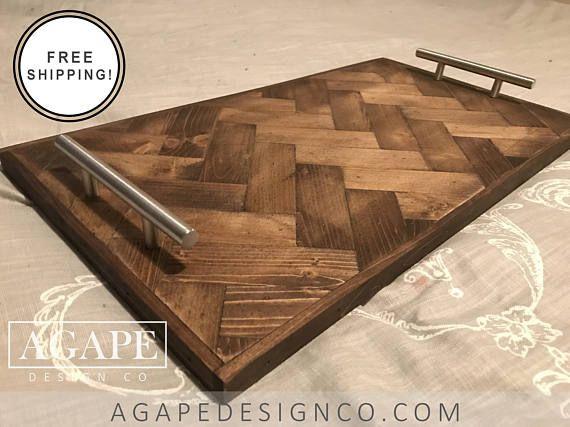 Herringbone Pattern Serving Tray Wood Breakfast Bed Table Coffee