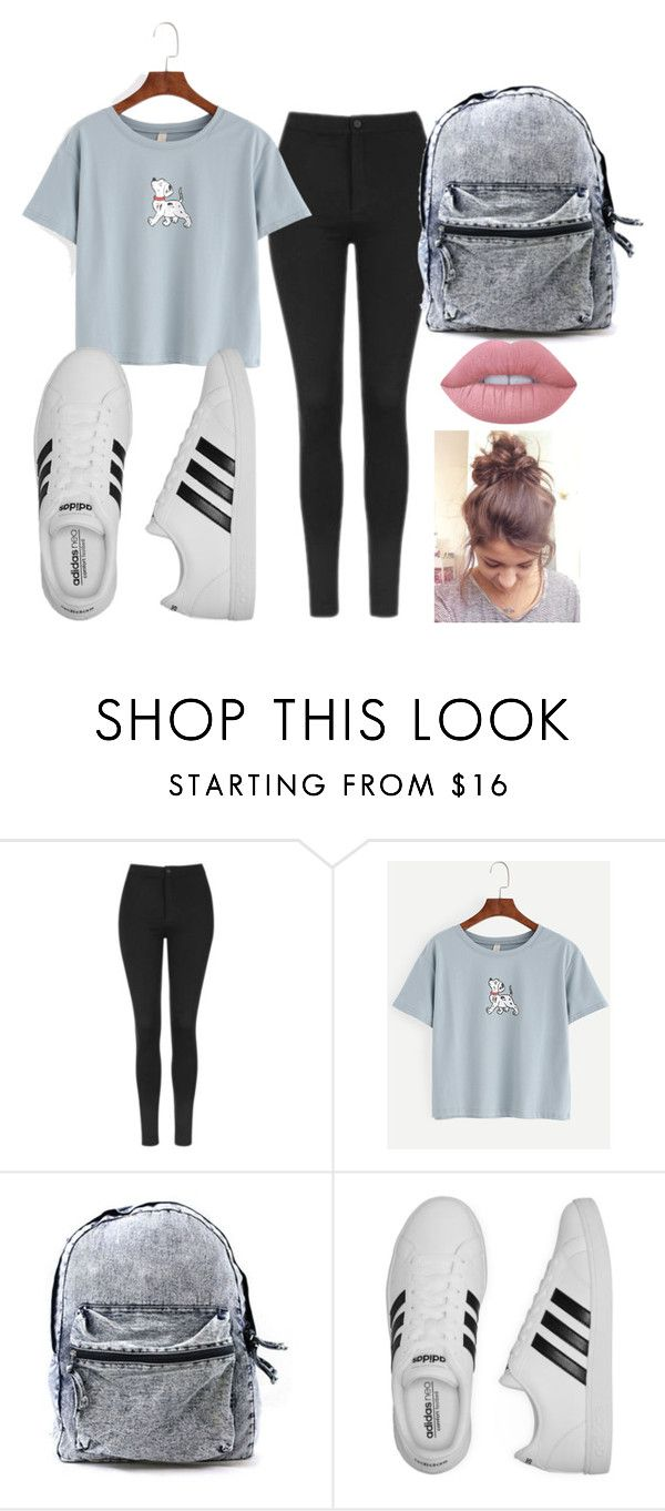 """Back to school"" by ranixcamande on Polyvore featuring Topshop, adidas and Lime Crime"
