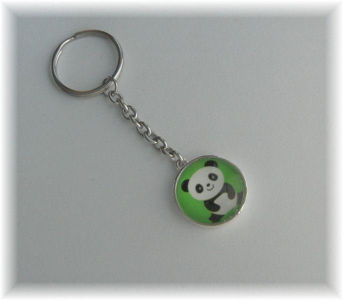 Schlüsselanhänger - 1 Schlüsselring Anhänger Panda Bär - Motiv beids. - ein Designerstück von die-deko-werkstatt bei DaWanda