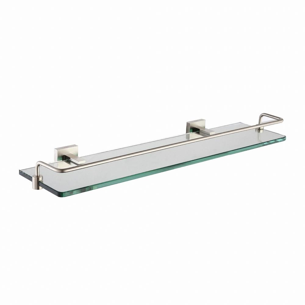 Kraus Aura Bathroom Shelf With Railing In Brushed Nickel Glass