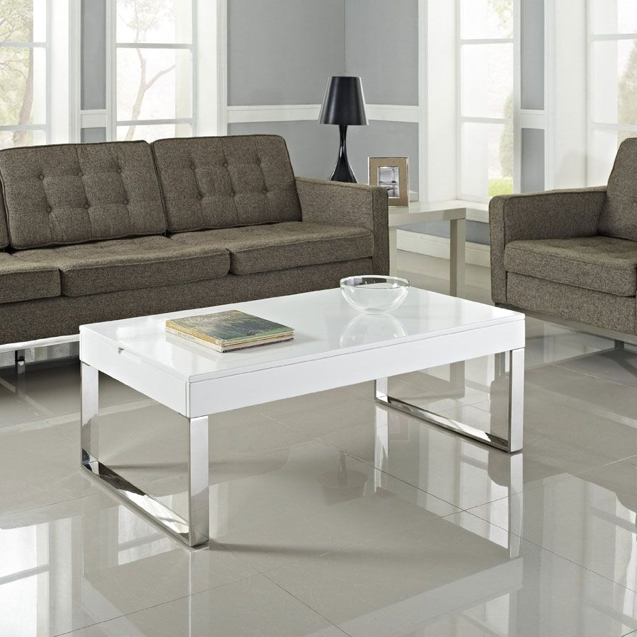 White Gloss And Chrome Coffee Table | Coffee tables | Pinterest