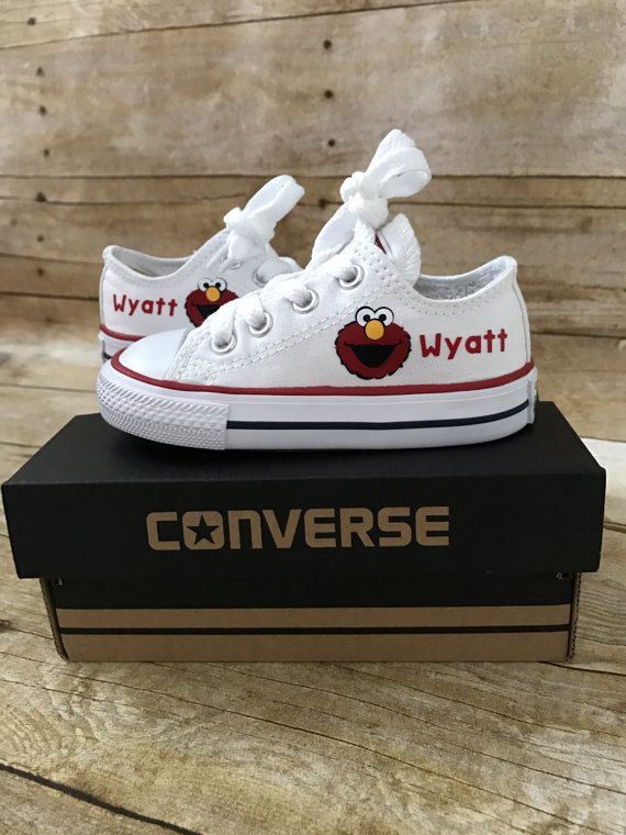 f0b0900a8182 Adorable Red monster Customized converse with your childs name underneath.  Please specify the name in the notes section. Please allow a 1-2 week  turnaround ...