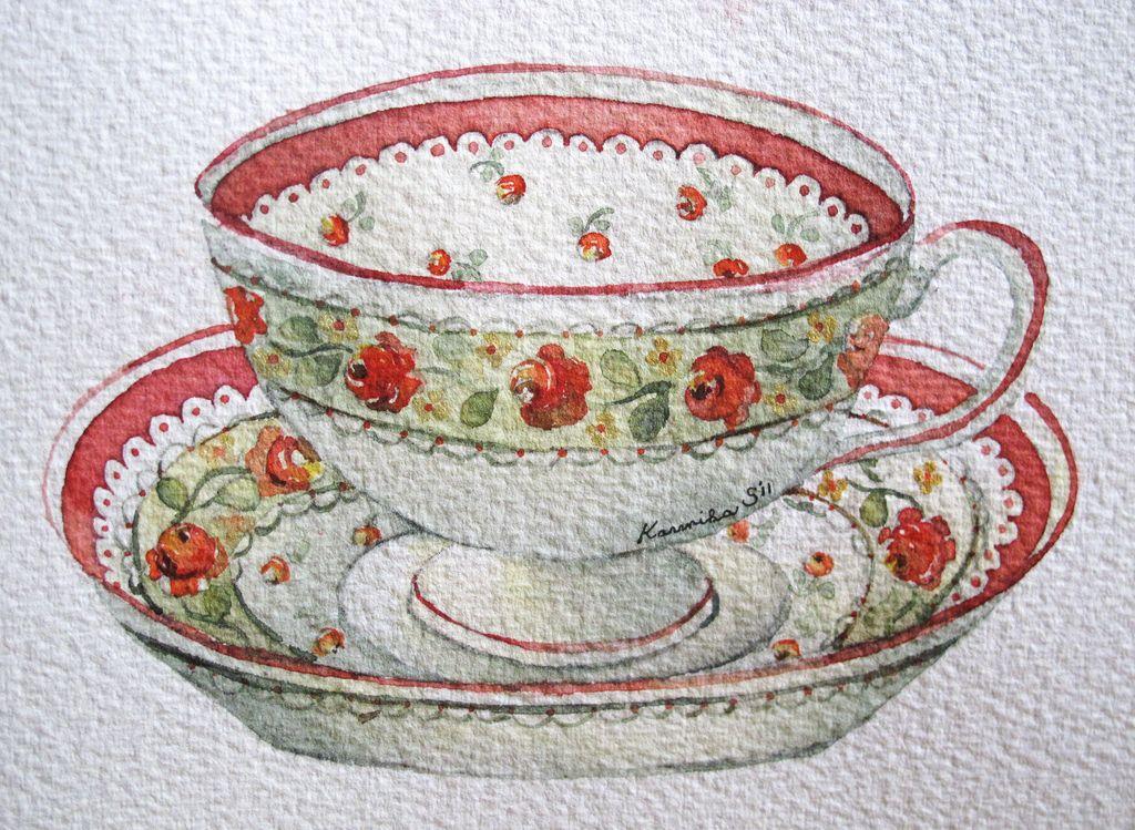 12-7-11 Tea Cup #1 (Watercolor : 10x13cm.)   Flickr - Photo Sharing!