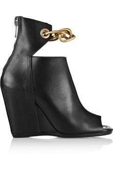 Cheap And Amazing Rick Owens Ankle Boots Leather Black Chain trimmed Wedge