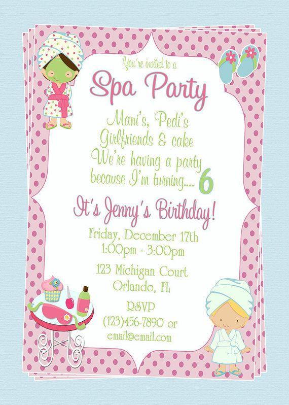 Custom Spa Themed Birthday Party Invitations Diy Printable File