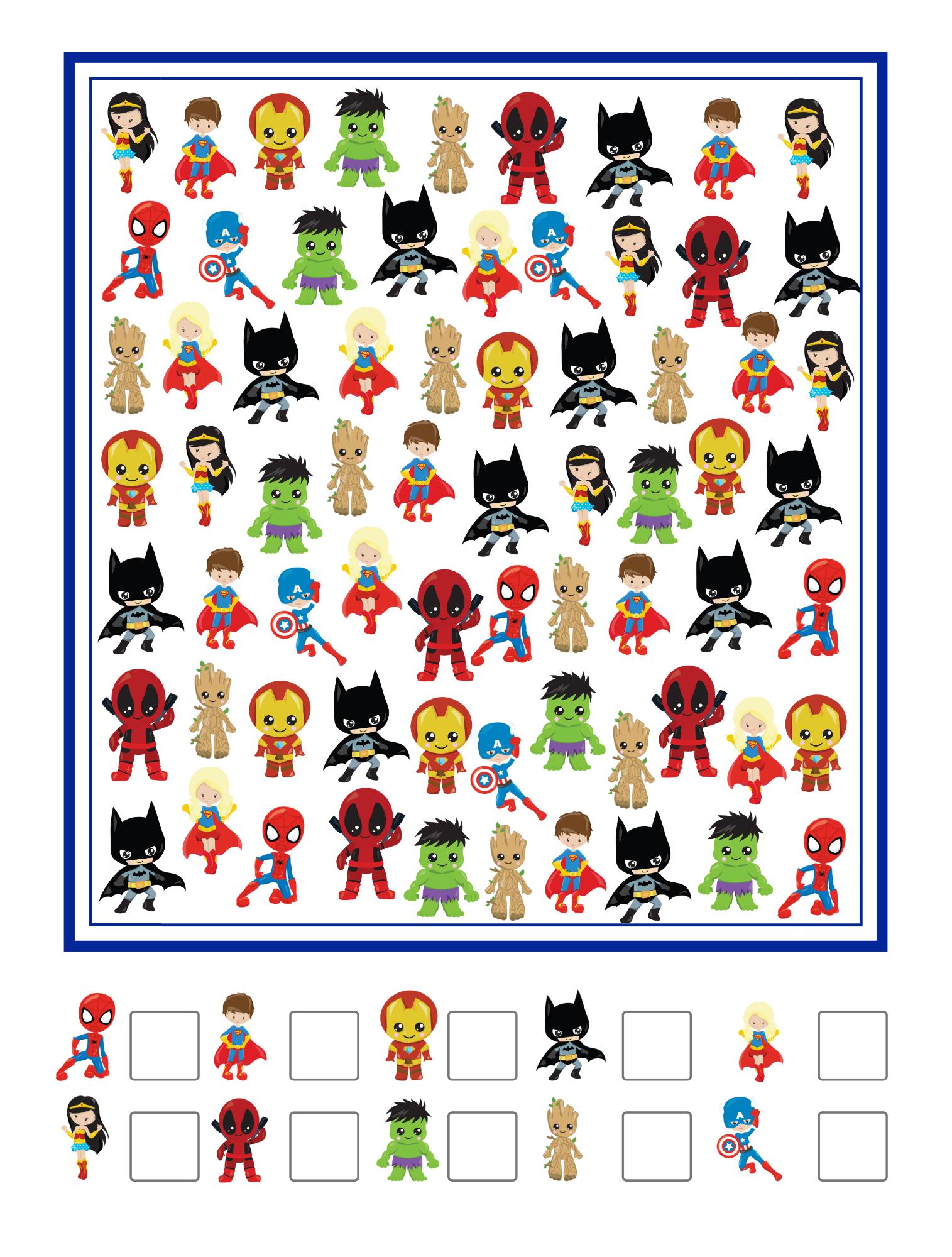 Superhero I Spy Printable For Kids In