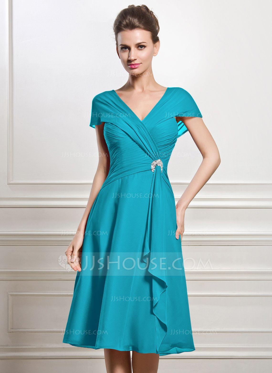 A-Line/Princess V-neck Knee-Length Chiffon Mother of the Bride Dress ...
