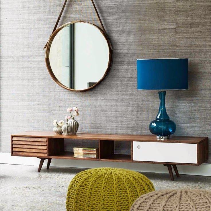 A Stunning Mid Century TV Unit Complemented By The Round Mirror And Contrasting Colours In Knitted Pouffes Striking Lamp Just Gorgeous