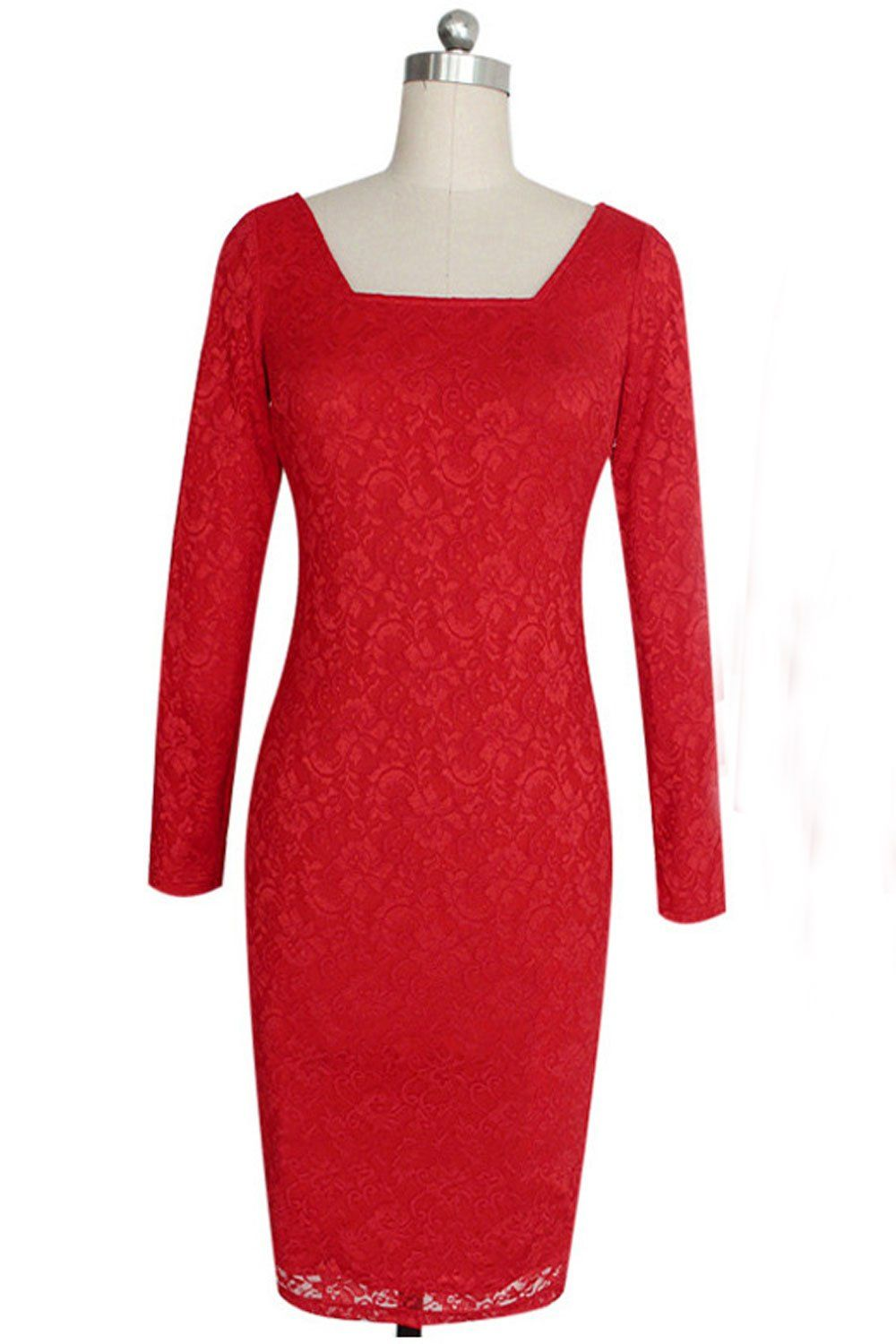 113a5551550 Unomatch Women Square Neck Slim Pencil Wedding Party Body Fitted Dress Red  Large Red     Details can be found by clicking on the image.