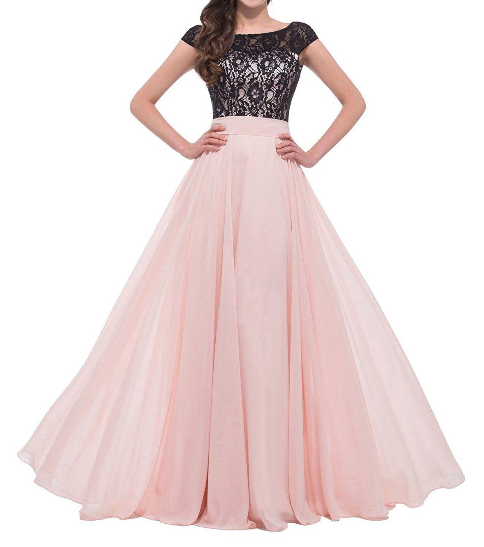 Simpledress Black and Pink A-line Cap Sleeves Lace Bateau Neckline ...