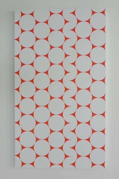 vwcampervan-aldridge:  **52 x 4 No3** ( Blow up from Cercles et demi - cercles, 1952)  Acrylic on Canvas Francois Morellet - 2006 Ikon Gallery, Birmingham, England Taken with permission of the Ikon Gallery