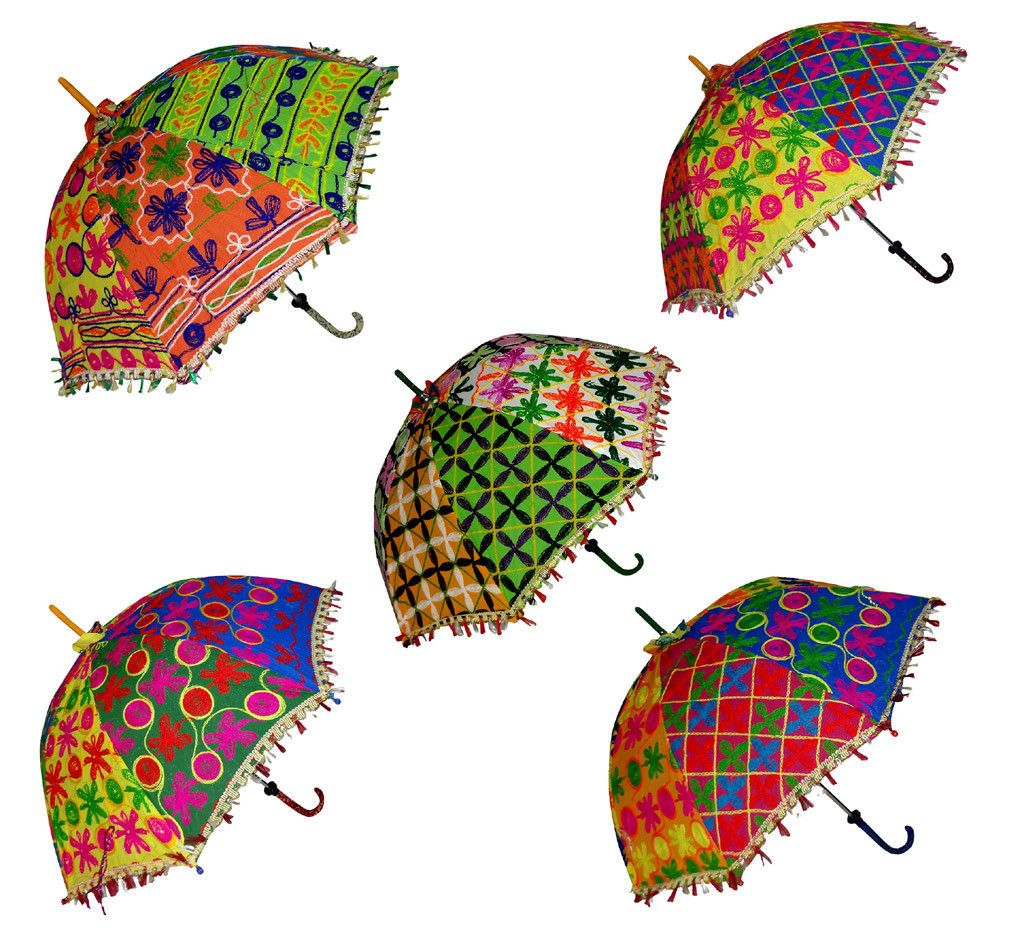 Decorative Hand Embroidered Parasol Wedding Sun Shade Small Umbrella 5 Pcs Lot #smallumbrella