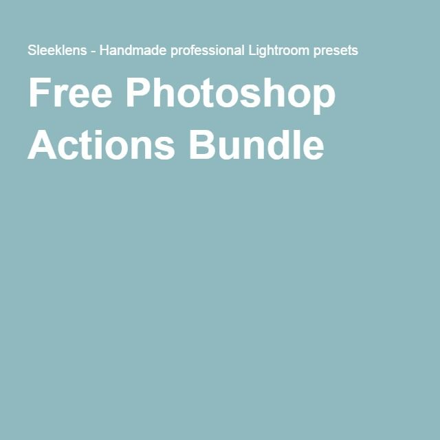 Free Photoshop Actions Bundle