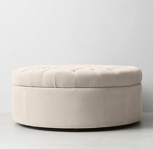 Tufted Large Round Velvet Storage Ottoman - love! | For the Home ...