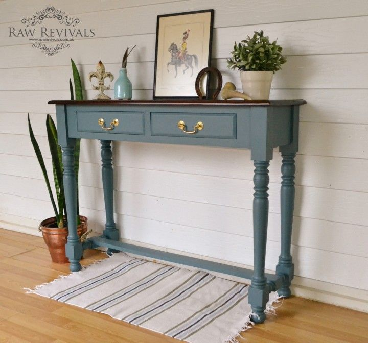Fusion Mineral Paint Homestead Blue Raw Revivals Fusion Paint Furniture Blue Console Table Painted Furniture