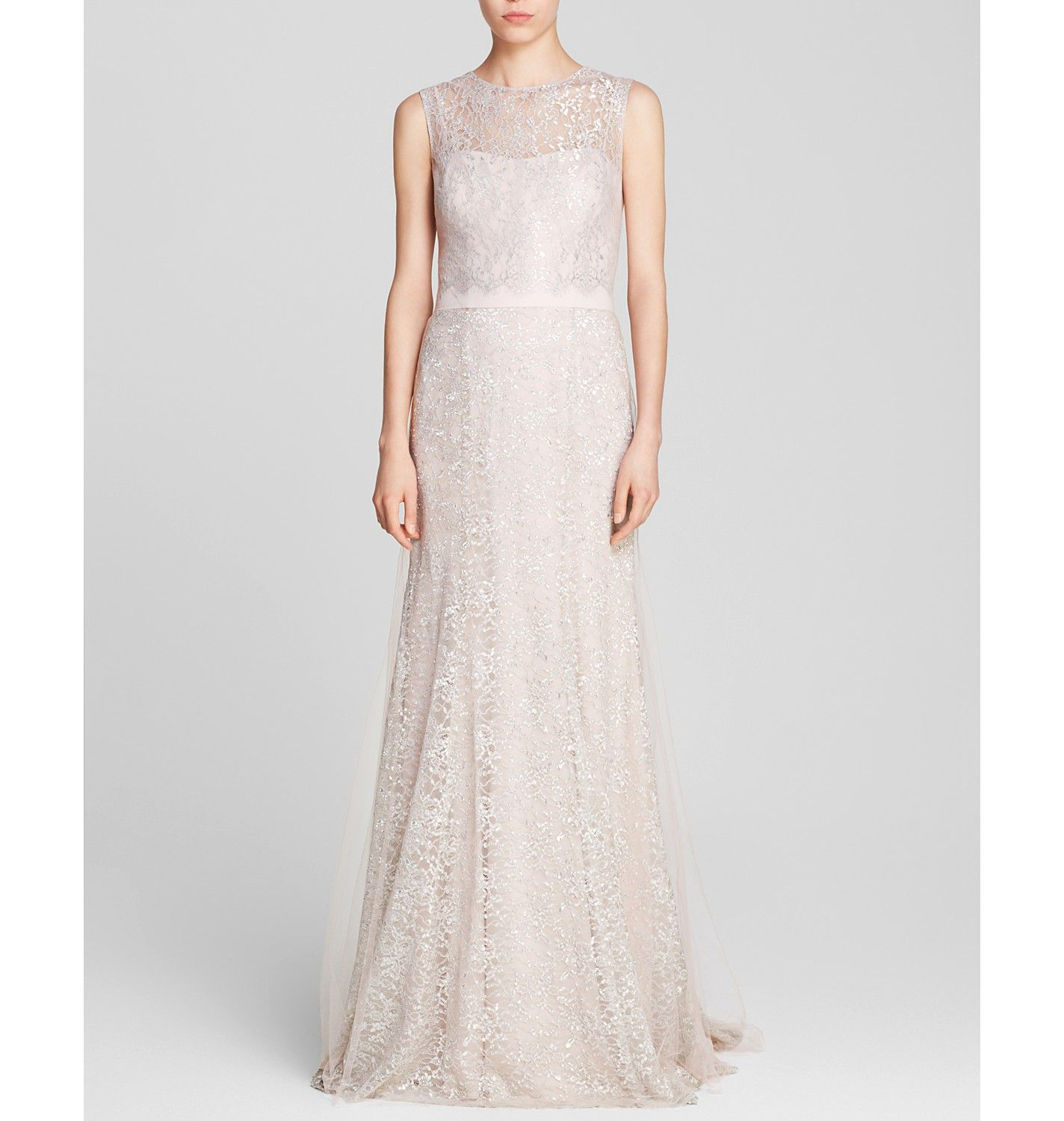 Vera Wang Gown - Sleeveless Lace Metallic | Bloomingdale's