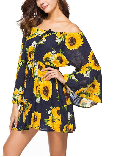 f27f0f833c8 Amazon   Women s Off Shoulder Floral Print Flare Sleeve Shirt Casual Tunic  Tops Just  9.80 W Code (Reg    19.99) (As of 5 6 2018 9.05 PM EDT)