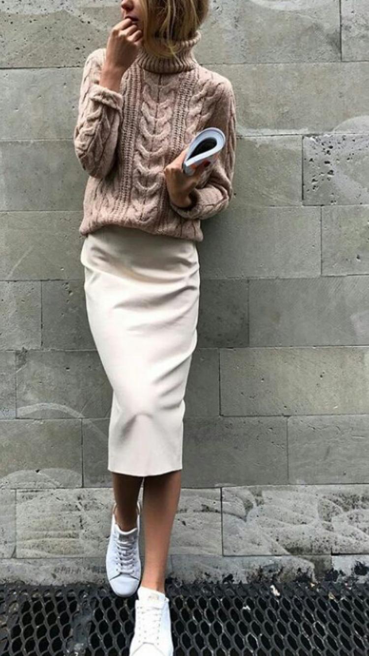 Midi cream beige skirt jumper winter autumn knee spring water
