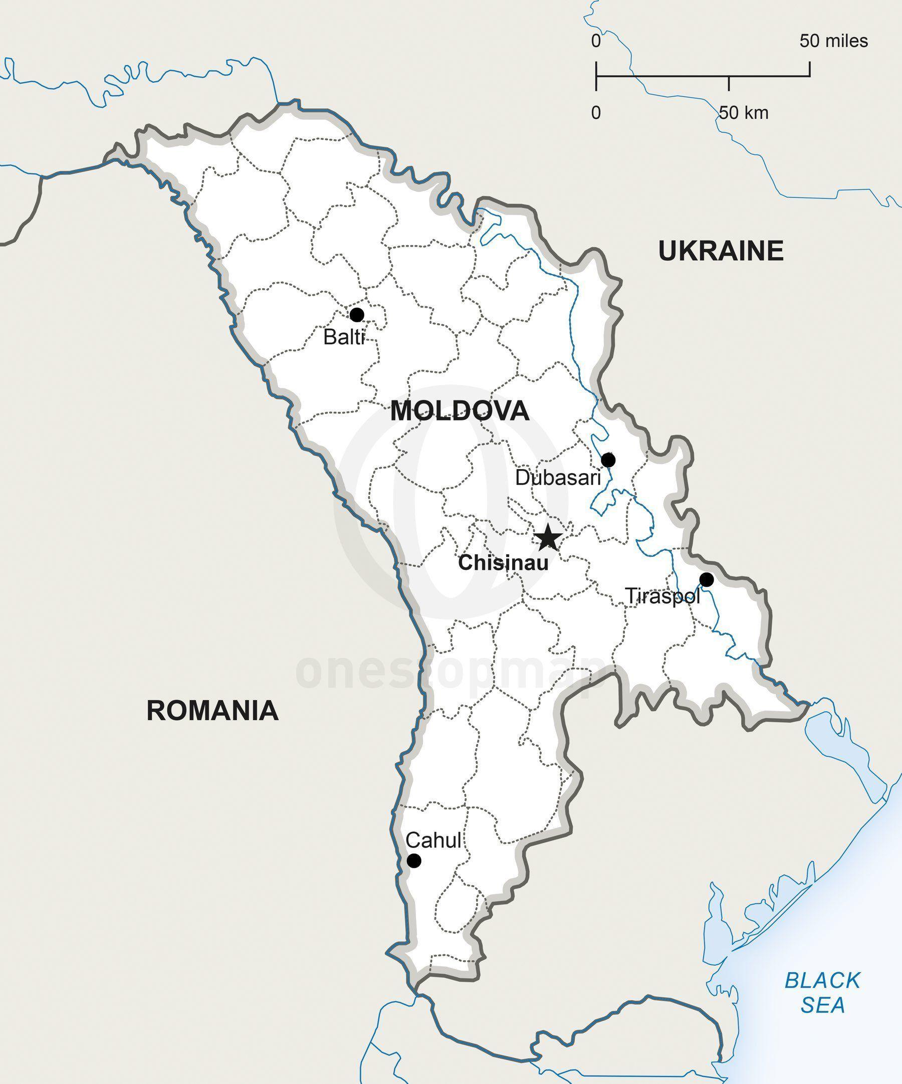 Vector Map of Republic of Moldova Political Moldova and Europe