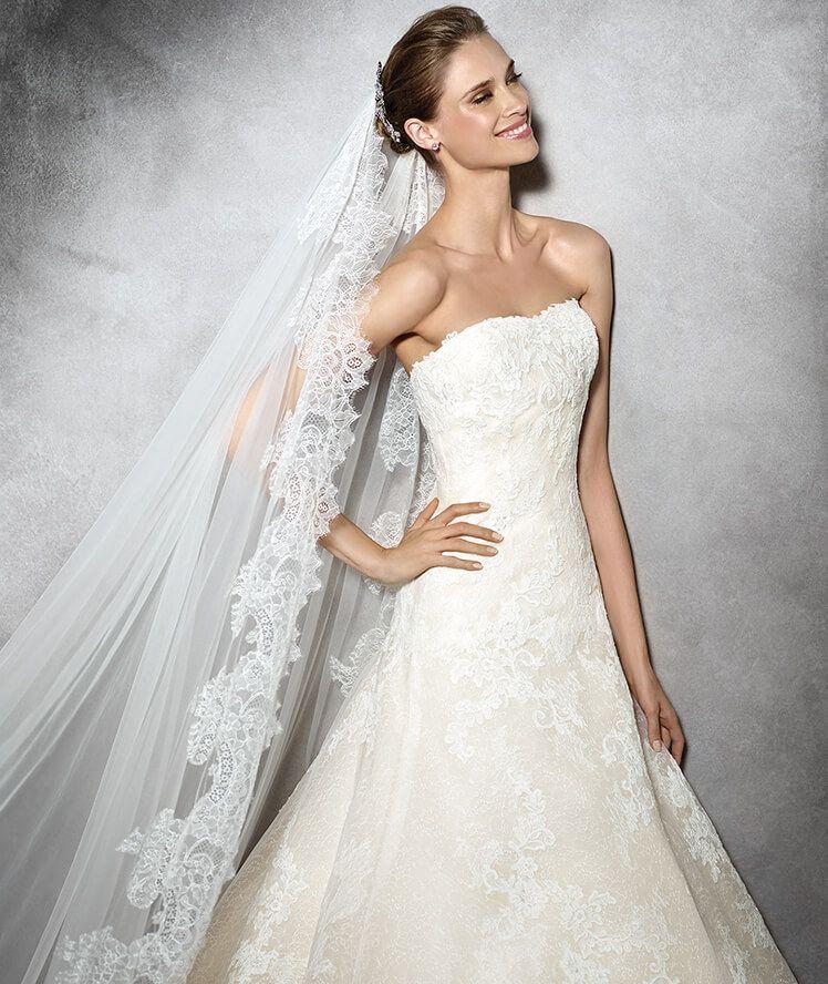 pronovias > tamia - vestido de novia de encaje y con escote corazón