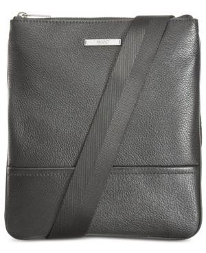 Hugo Boss Men's Element S Zip Leather Envelope Pouch - Black