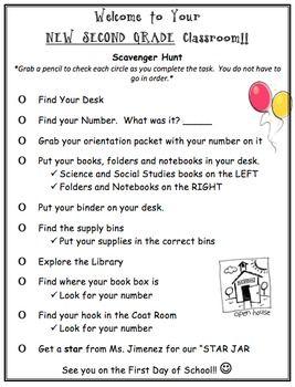 2nd Grade Scavenger Hunt (Open House)